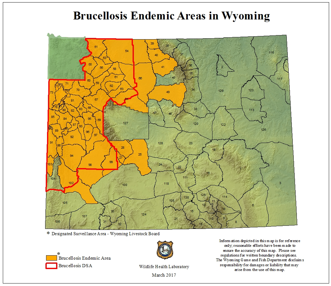Wyoming Game And Fish Department Brucellosis - Map of us elk population