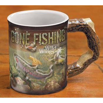 Sculpted Gone Fishing Mug