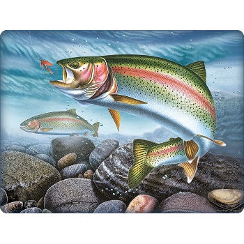 Rainbow Trout Glass Cutting Board