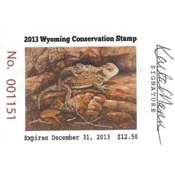 2013 Horned Toad Lizard Artist Signed Stamp