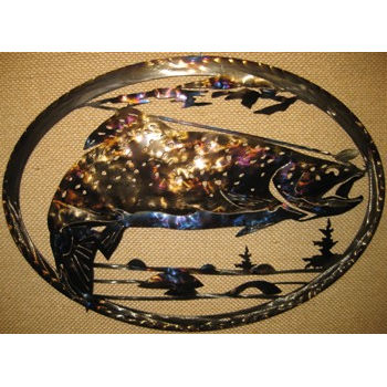 Trout Fishing Metal Art